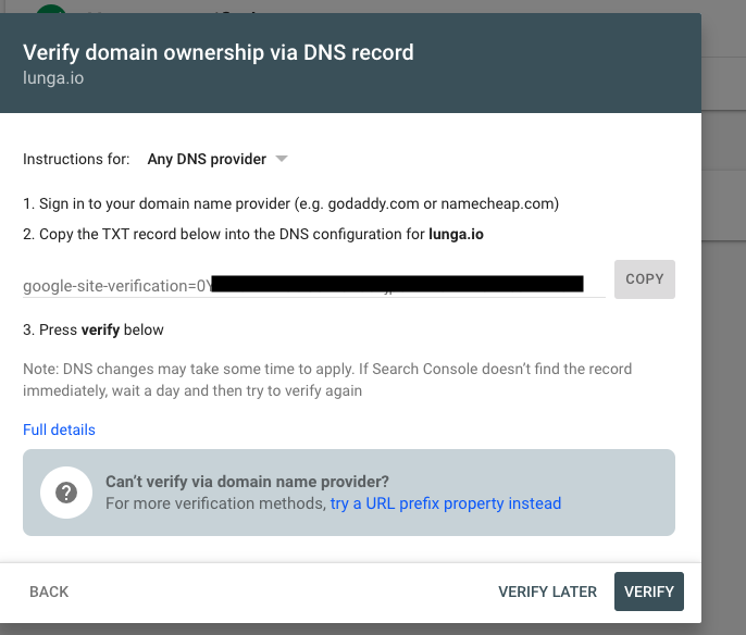 Box appears on verify domain name GCP