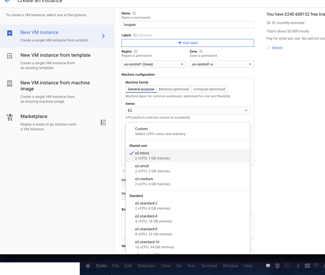 Creating the computation specification of a VM instance on google cloud