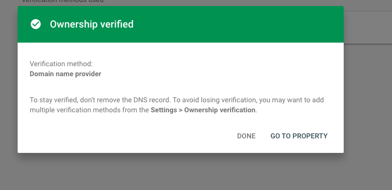 domain has been verified on GCP