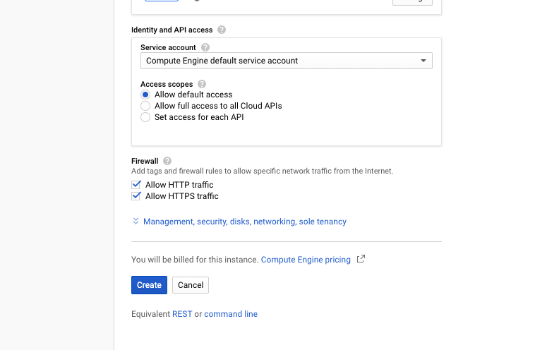 See created VM instance google cloud
